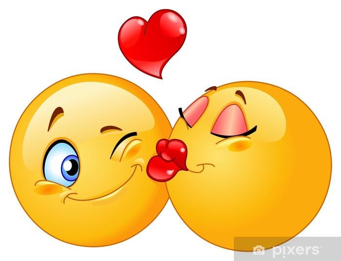 Kissing emoticons Pixerstick Sticker - Wall decals