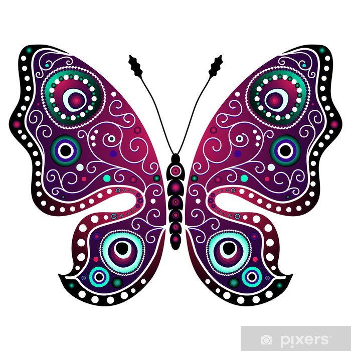 Bright abstract butterfly Poster - Signs and Symbols