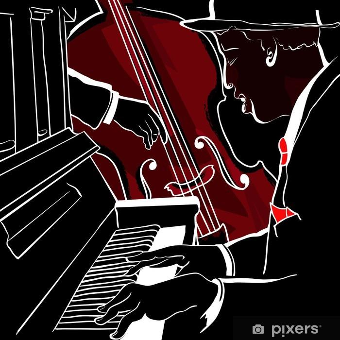 Vinyl Fotobehang Vector illustratie van een Jazz piano en contrabas - jazz
