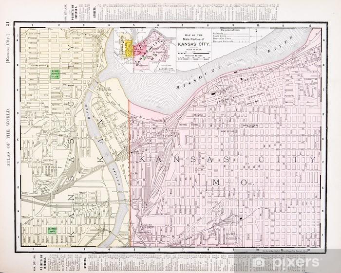 Fototapete Weinlese-Farbe Stadtplan Kansas City Missouri und Kansas, USA