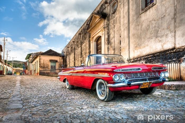 Vinil Duvar Resmi Kırmızı Chevrolet -