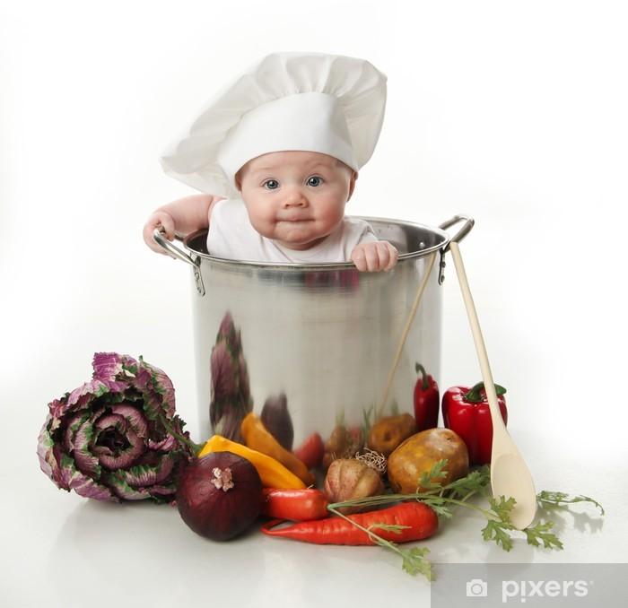 Papier peint vinyle Bébé dans une marmite - Repas