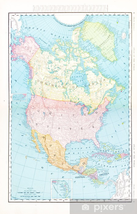 Antique Vintage Color Map of North America, Canada, Mexico, USA Wall Mural  - Vinyl