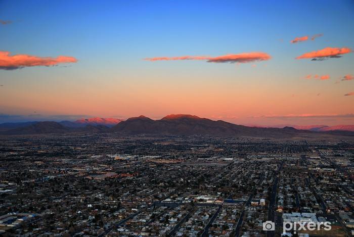 Sticker Pixerstick Las Vegas coucher de soleil vue aérienne - Amérique