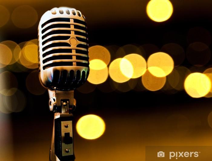 Pixerstick Dekor Fondo musikaliska con microfono y luces de Escenario - Hio hop