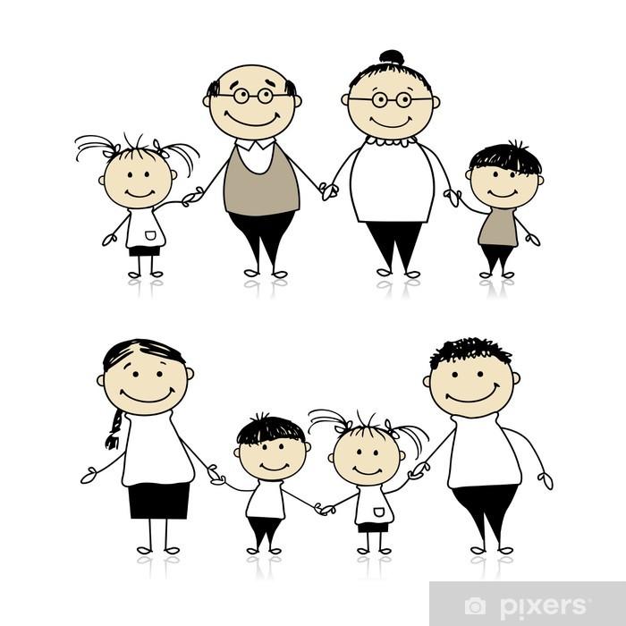 Pixerstick Aufkleber Glückliche Familie zusammen - Eltern, Großeltern und Kinder - Familienleben
