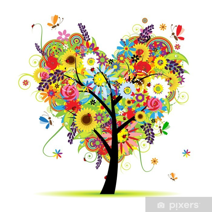 Summer floral tree, heart shape Vinyl Wall Mural - Wall decals
