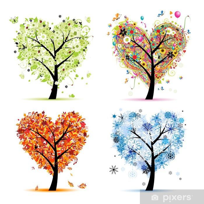 Poster Vier seizoenen - lente, zomer, herfst, winter. Kunst boom harten - Muursticker