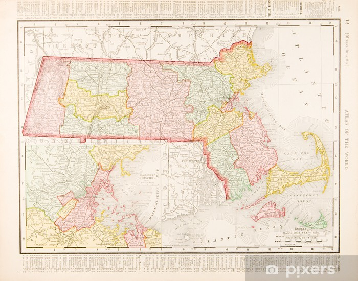 Antique Vintage Color Map Of Massachusetts Ma United States Wall - Massachusetts-in-us-map