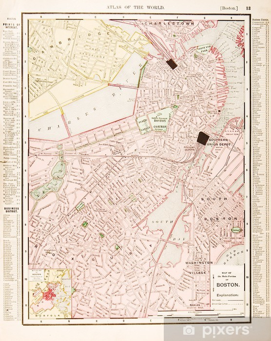 Antique Boston Map.Detailed Antique Color Street City Map Of Boston Massachusetts