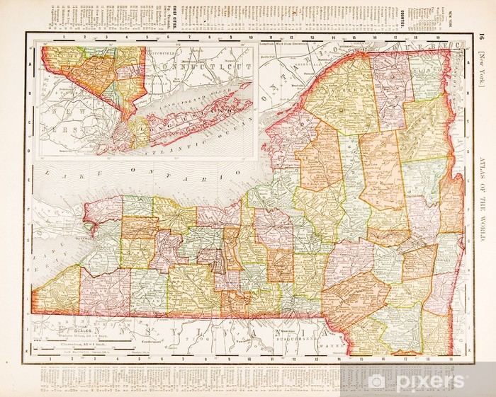 Fototapete Antike Vintage Color Map of New York State, USA