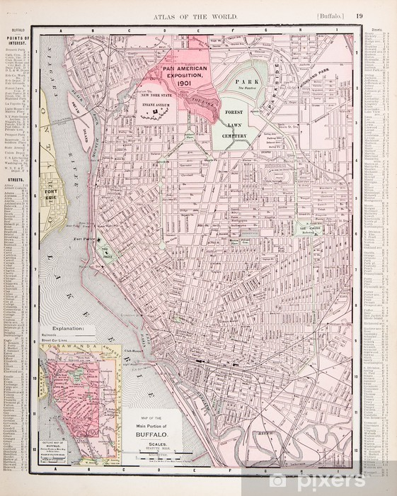 Detailed Antique Color City Street Map Buffalo, New York, USA Wall on
