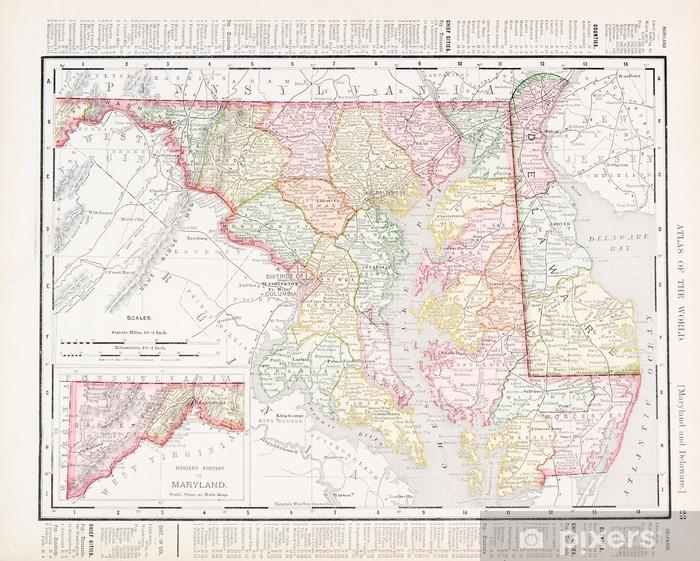 Fototapete Antike Vintage Color Map of Maryland und Delaware, USA