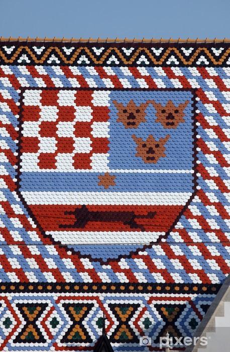 Sticker Pixerstick Armoiries, le toit de l'église de Saint-Marc à Zagreb, Croatie - Europe