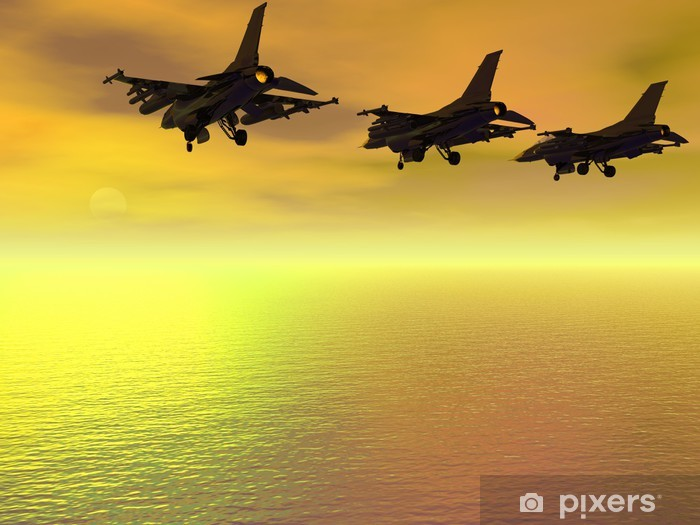 Three F-16 Fighter Jets over the ocean Pixerstick Sticker - Signs and Symbols