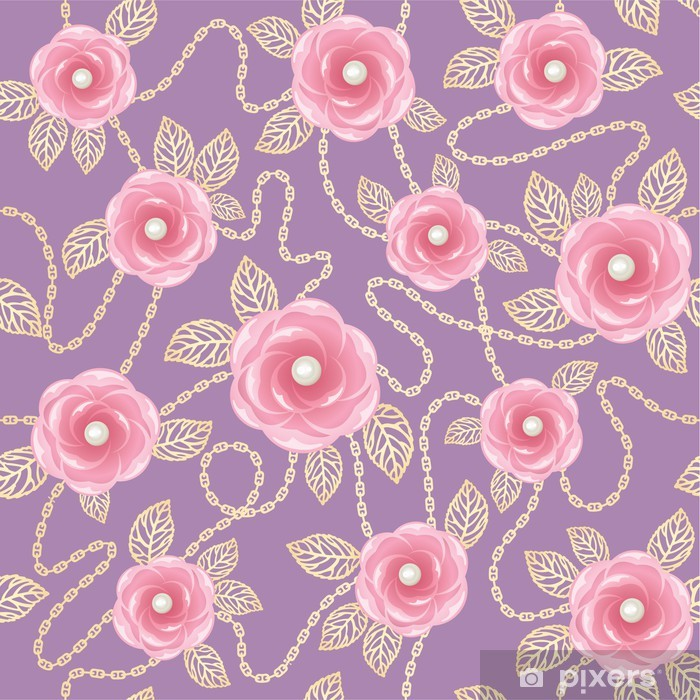 Vintage Background With Pink Roses Gold Chains And Perls Wall Mural
