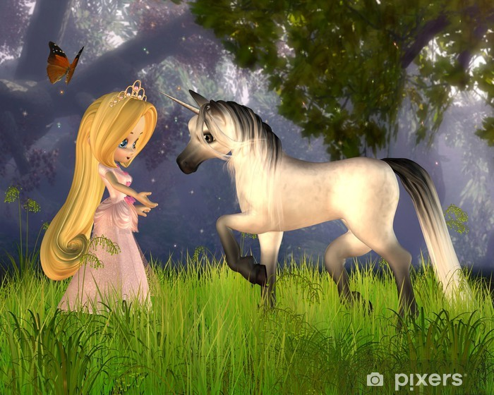 Fototapeta winylowa Cute Toon Fairytale Princess and Unicorn -