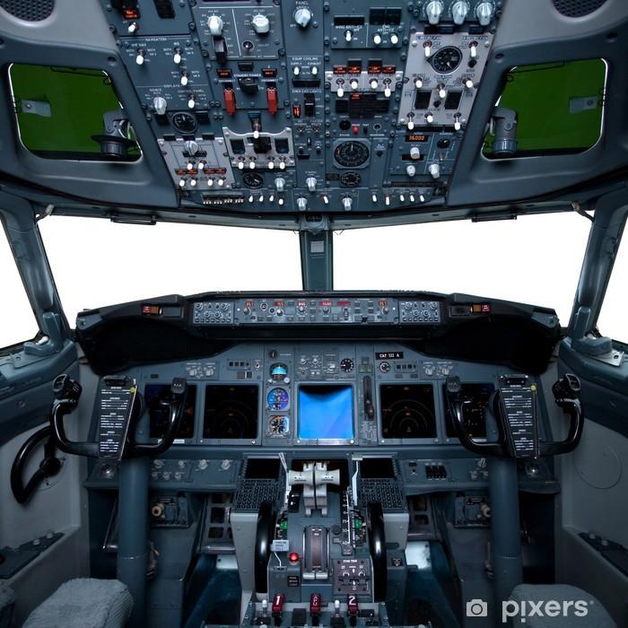 Plakát Boeing interiér, pohled z kokpitu uvnitř letadla - iStaging