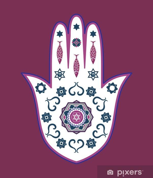Nálepka Pixerstick Židovská hamsa ručně amulet - nebo Miriam ruky, vektorové ilustrace - Náboženství