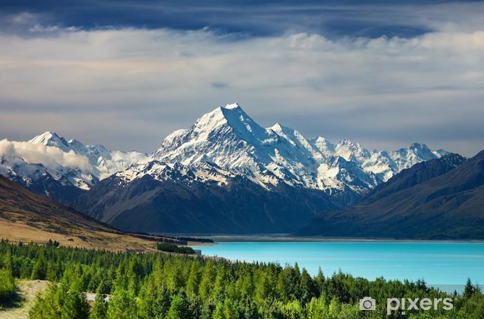 Mount Cook and Pukaki lake, New Zealand Pixerstick Sticker - Oceania