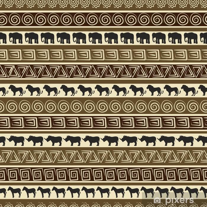 Fototapeta winylowa Afrykański styl bez szwu z dzikimi zwierzętami. - PI-31