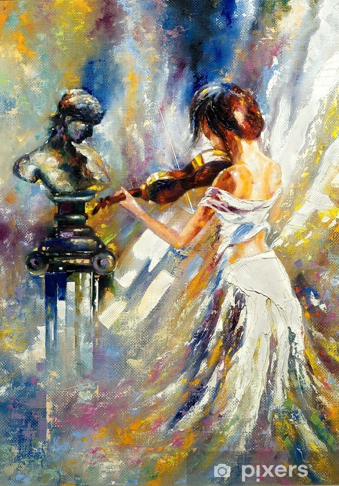 The girl playing a violin Vinyl Wall Mural - Styles