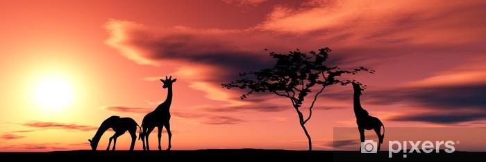 Carta da Parati in Vinile Famiglia di giraffe - Temi