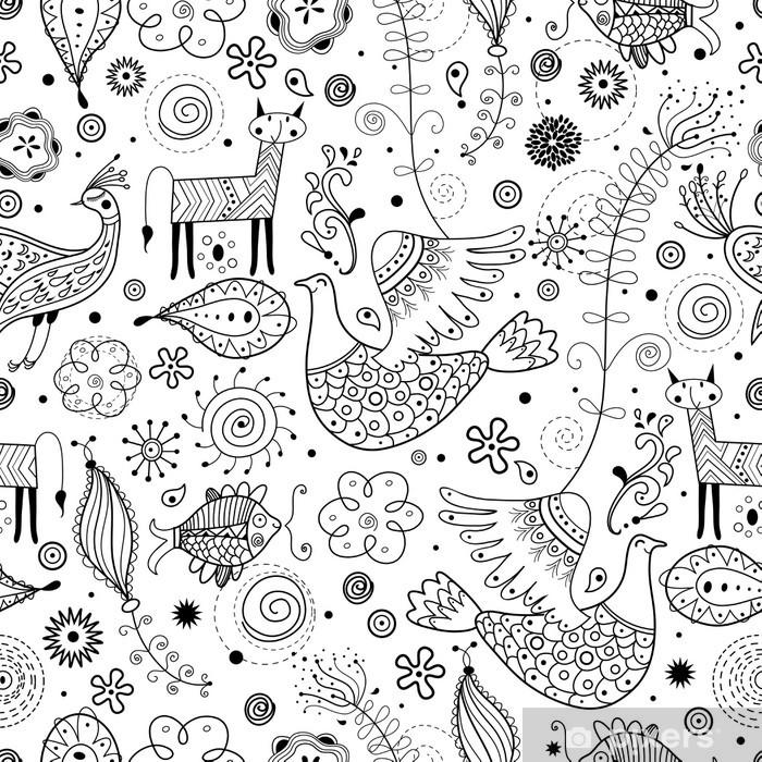 19537a87 Problemfri grafisk mønster af fantastiske dyr Fototapet • Pixers ...