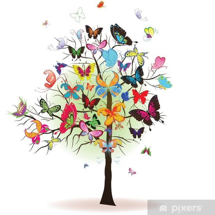 Plakat Drzewo z motyla, element projektu, ilustracji wektorowych - Pory roku