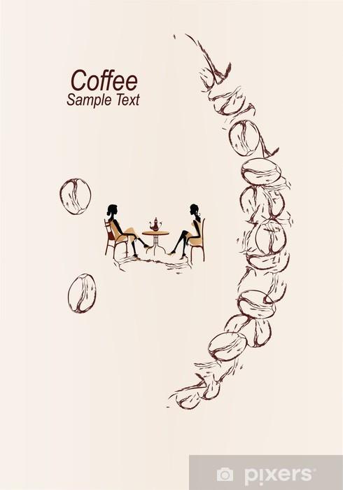 Vinyl-Fototapete Kaffee Lächeln mit Mädchen im Chat - Heißgetränke