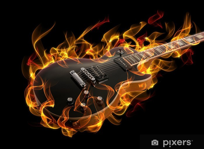 Electric guitar in fire and flames Vinyl Wall Mural - Jazz