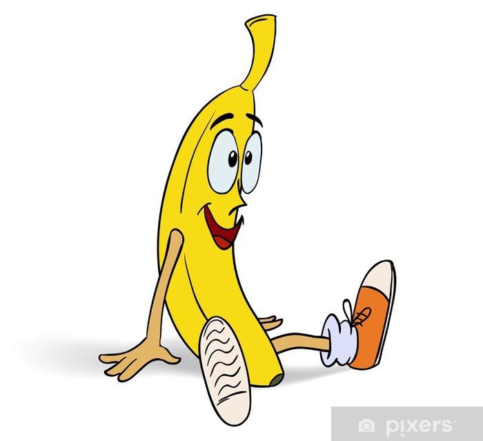 Poster Sourire banane drôle en baskets - Fruits