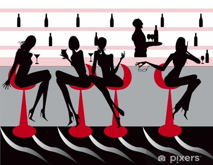 Vinilo Pixerstick Club de restaurante bar café Ilustración vectorial mujeres - Comercios