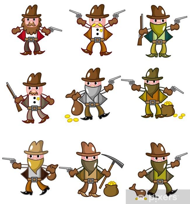 Vinyl-Fototapete Cartoon Wild West Cowboy-Symbol - Männer