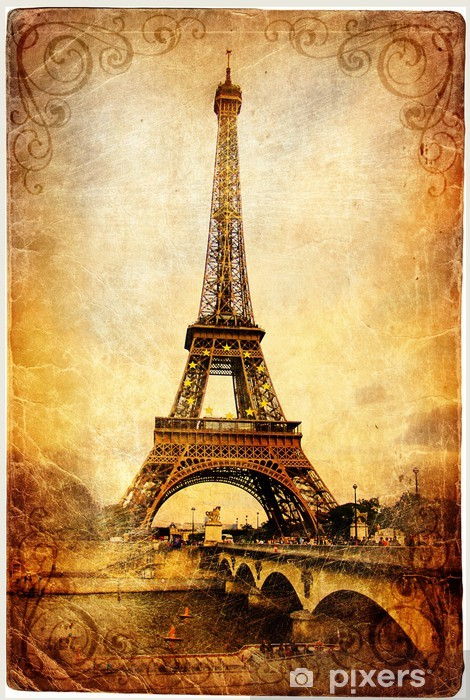 Eiffel tower - retro picture Pixerstick Sticker - iStaging