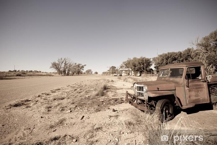 Pixerstick Dekor Gammal rostig bil längs historiska US Route 66, Texas - Amerika