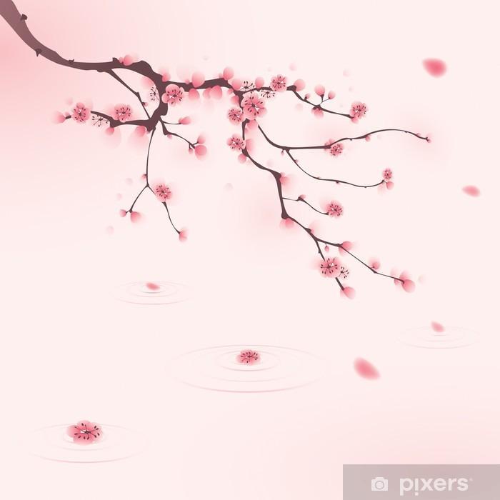 Papier peint lavable Peinture de style oriental, fleur de cerisier au printemps - Styles