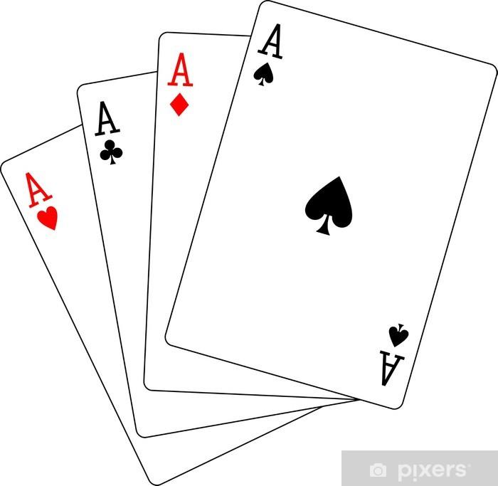 Papier peint vinyle Quatre cartes à jouer au poker Aces - Sticker mural