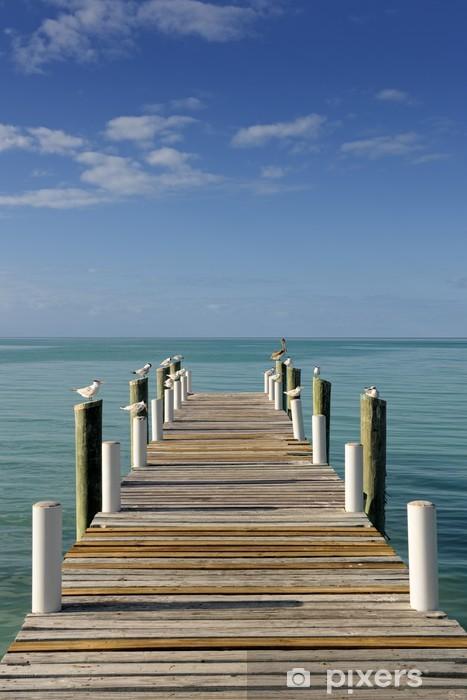 Fototapeta winylowa Drewniany pomost nasłoneczny prowadzące do turkusowym błękitne morze w Governo - Tematy