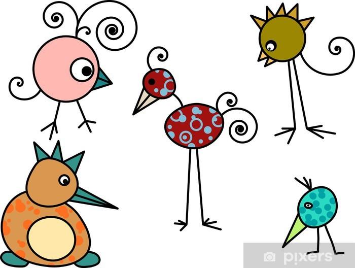 Vinilo Pixerstick Colección De Pájaros Dibujados A Mano De Dibujos