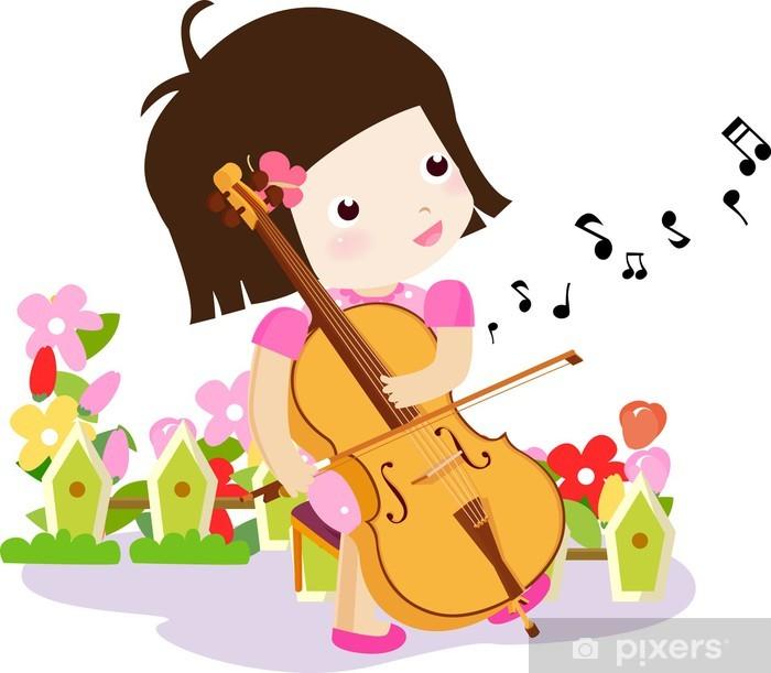Plakat Ilustracji wektorowych, dziewczyna gra na skrzypcach - Dzieci