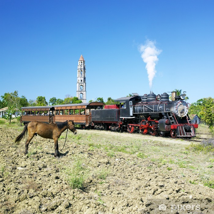 Naklejka Pixerstick Pociąg turystyczny Sugar Mill Valley, Manaca Iznaga, Kuba - Tematy