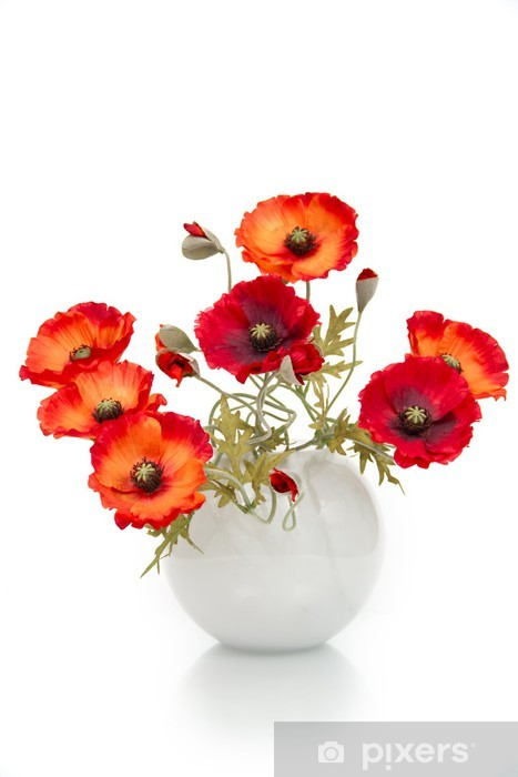 The image of a bouquet of artificial poppies in a vase, isolated Vinyl Wall Mural - Flowers