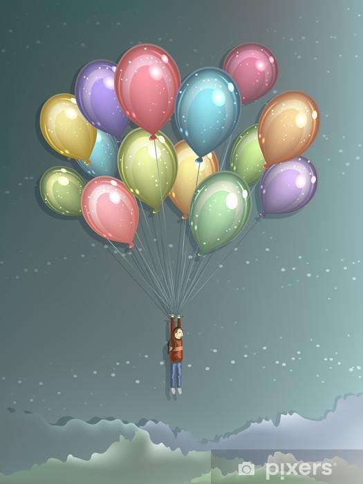 Vinyl Fotobehang Man vliegen met kleurrijke ballonnen -