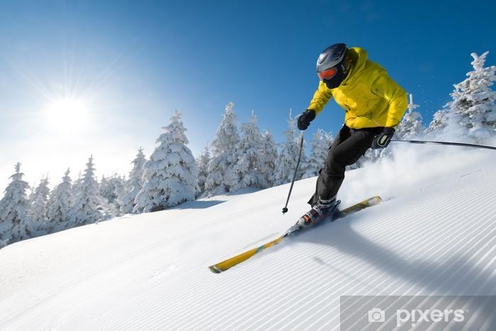 Naklejka Pixerstick Narciarz w górach - Sporty zimowe