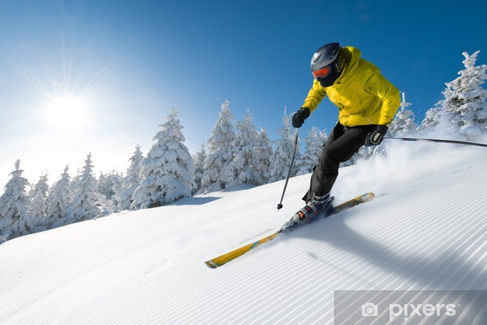 skier in mountains Vinyl Wall Mural - Winter Sports