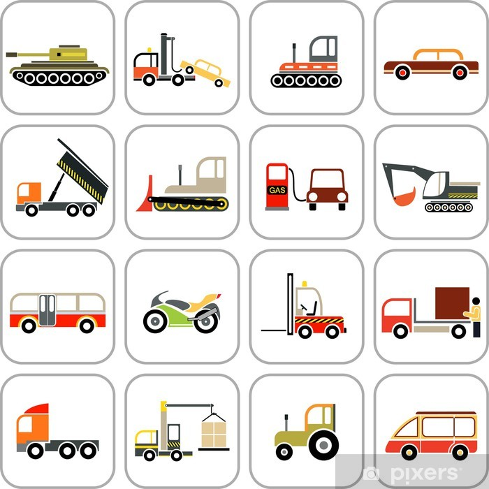 Plakat Transportu ikony - Przemysł ciężki