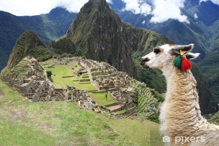 Fotomural Estándar Llama a Ciudad Perdida de Machu Picchu - Perú - América