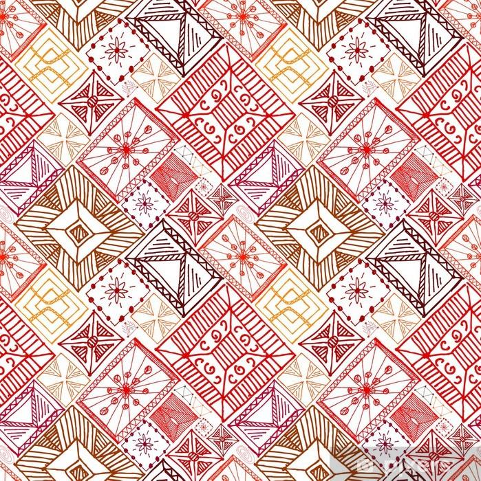 Vinylová fototapeta Abstraktní doodle ručně malovaná bezešvé červené pozadí - Vinylová fototapeta
