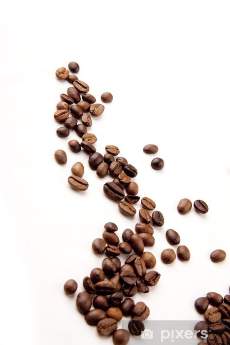 Naklejka Pixerstick Ziarna kawy rozproszone - Gorące napoje